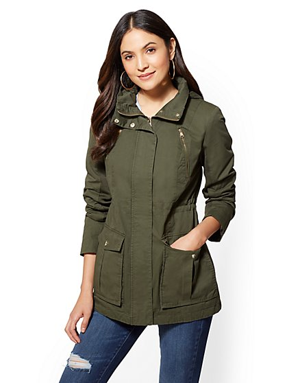Zip-Accent Hooded Anorak Jacket - New York & Company