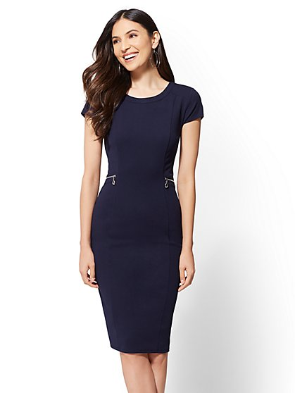 Zip-Accent Sheath Dress - New York & Company