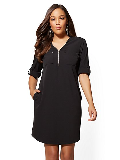 Zip-Accent Shift Dress - New York & Company