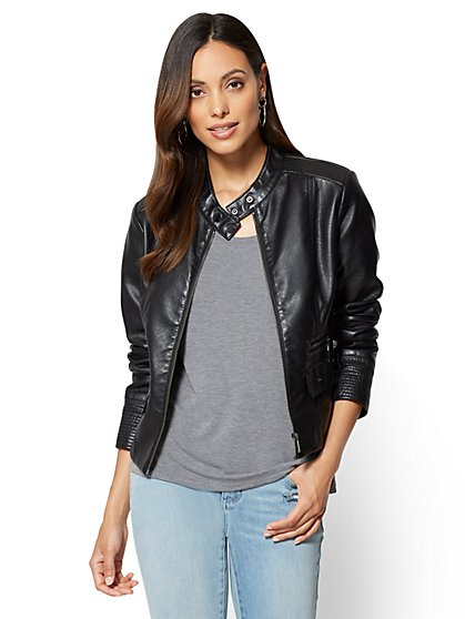 Zip-Front Faux-Leather Moto Jacket - New York & Company