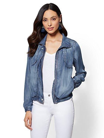 Zip-Front Jacket - Medium Blue Wash - New York & Company