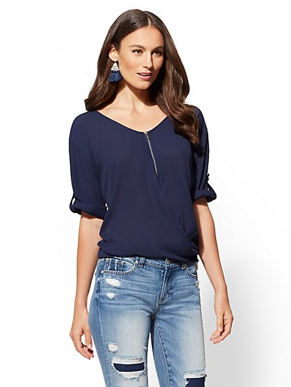 Zip-Front Wrap Top - New York & Company