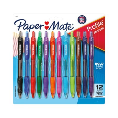 Paper Mate Profile Retractable Ballpoint Pens, Bold Point (1.4mm)