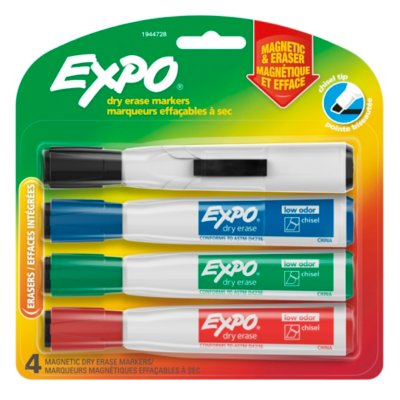 Expo® Magnetic Dry Erase Markers with Eraser, Chisel Tip