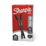 2 black felt tip pens package image number 0