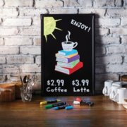 coffee shop sign written with chalk markers image number 3