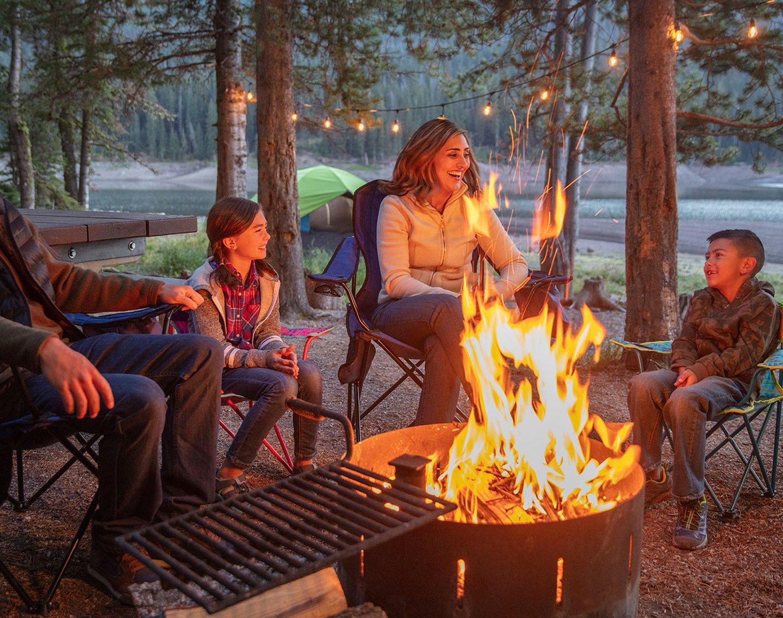 quad chairs at campsite
