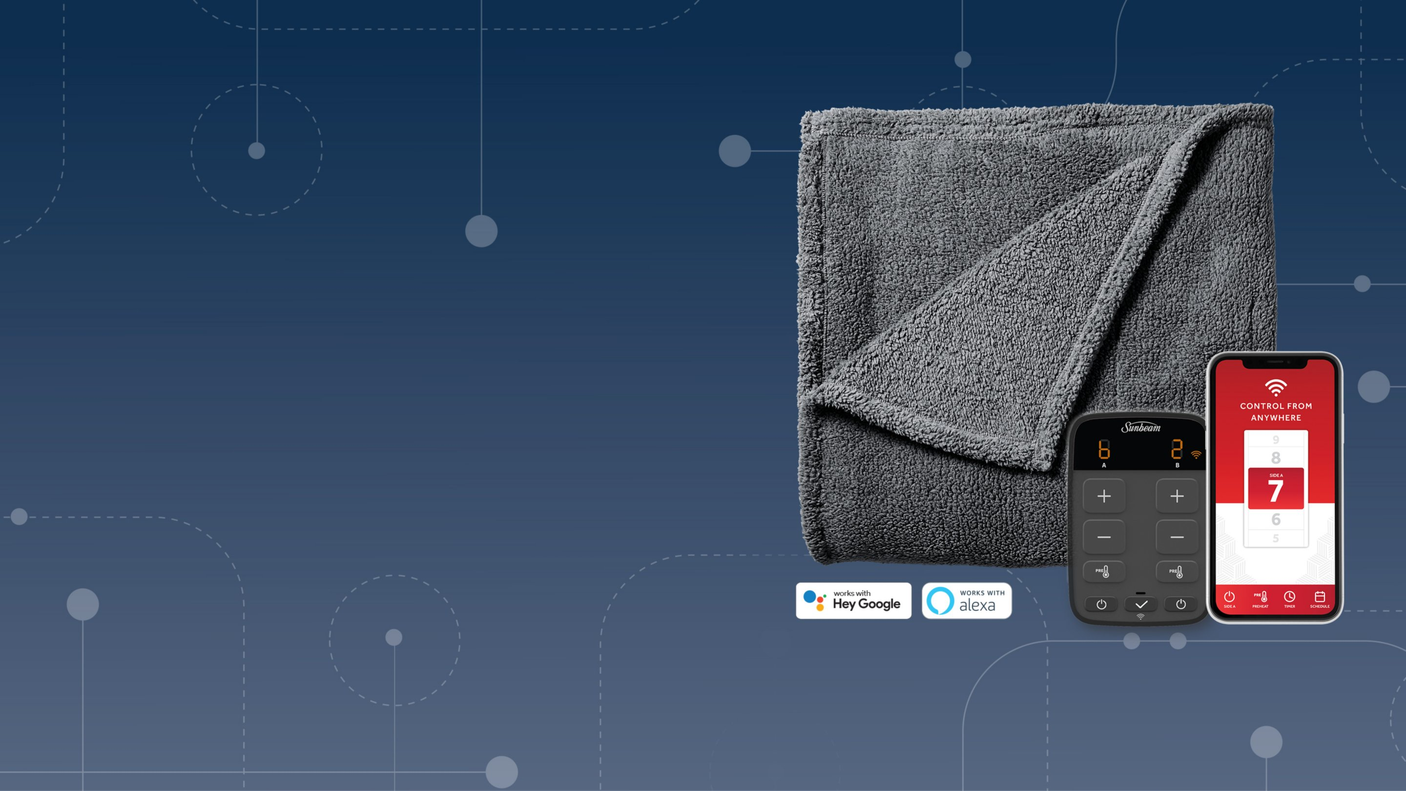 smart app controls for heated blanket