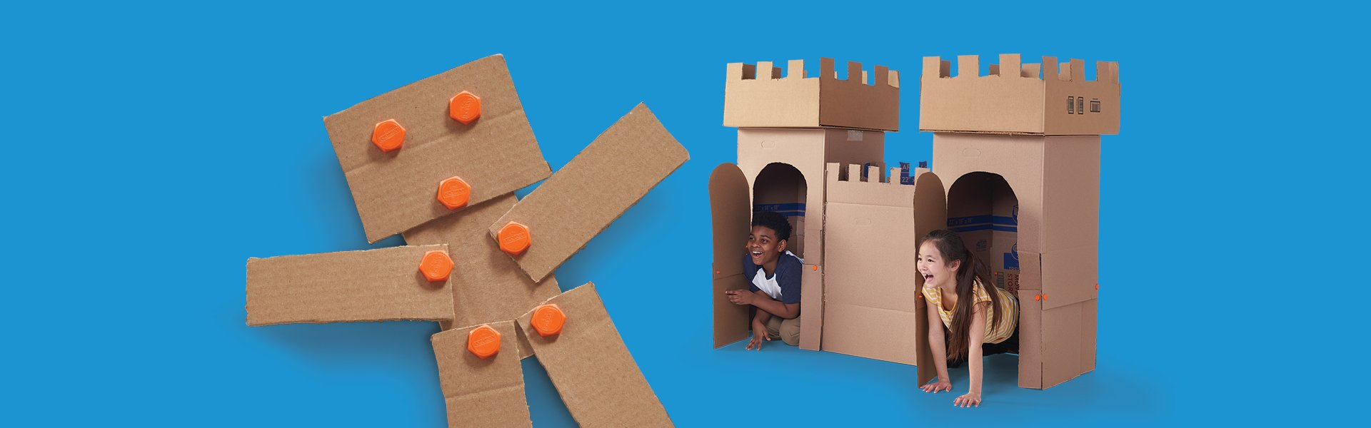 kids building with cardboard boxes