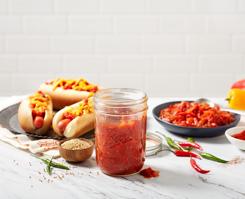 food preservation jar in use