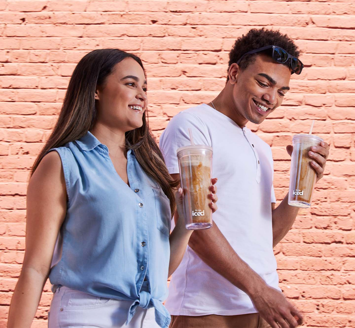 Two people with iced coffee