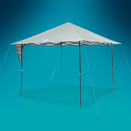 erected canopy tent with cover