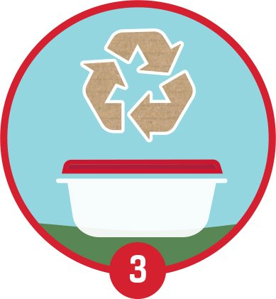 plastic food storage container recycle logo illustration