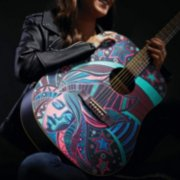 acoustic guitar colored in design with metallic markers image number 5