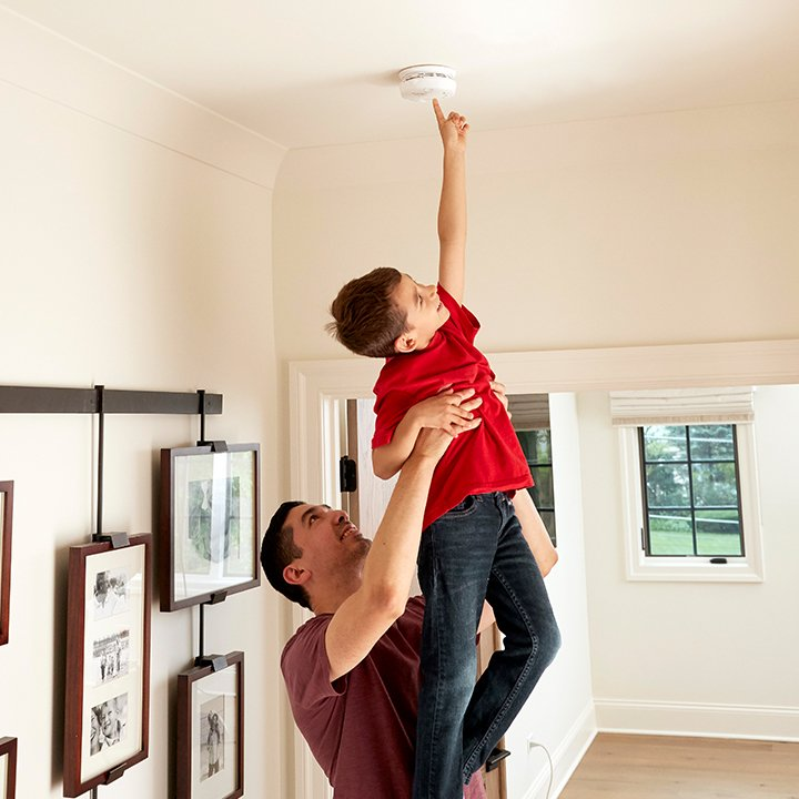 dad and kid, home safety equipment