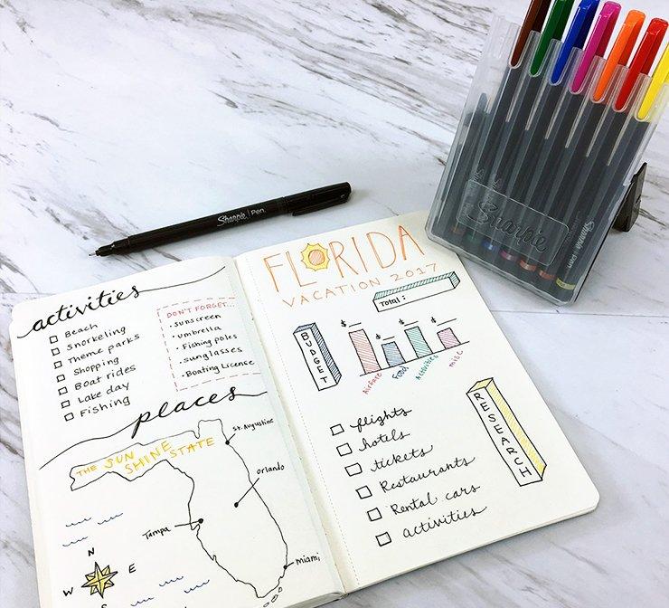 Assorted Sharpie pens in case
