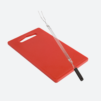 Cutting board and cooking fork