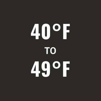 40 degrees Fahrenheit to 49 degrees Fahrenheit