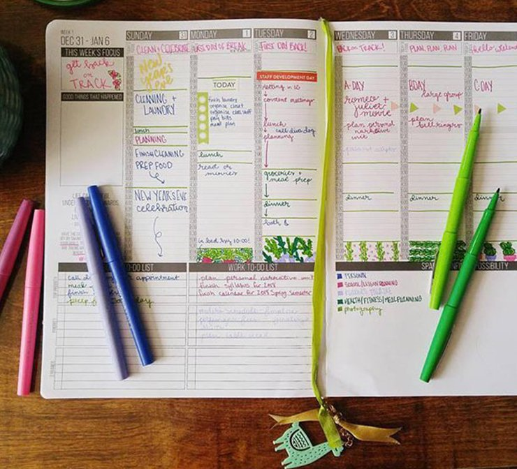 Assorted Flair pens on a day planner