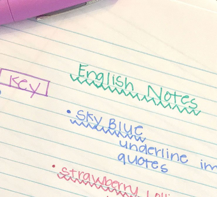 color coded handwriting