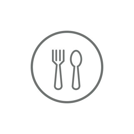 A rendering of a fork and spoon on a plate.
