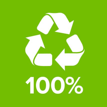 A recycling logo with text that reads 99 percent.