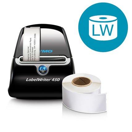A Label Writer 450 printing a label next to a roll of labels.