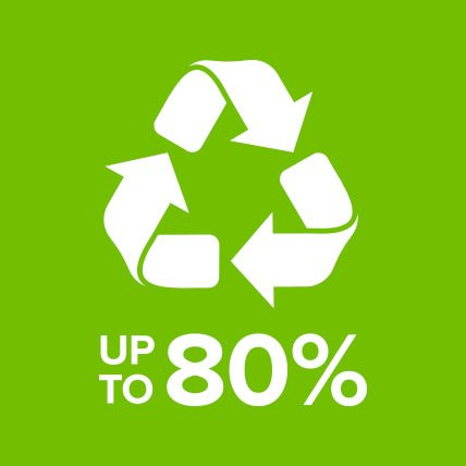A recycle sign with text that reads Up to 80 percent.
