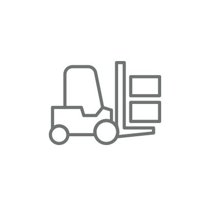 A rendering of a forklift carrying boxes.