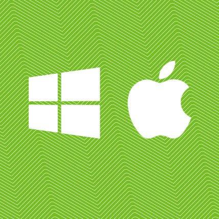 Windows and Mac icons.