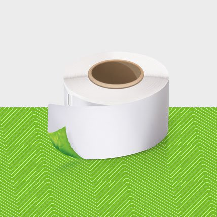 A roll of white labels.