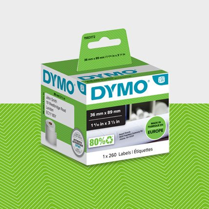 A box of DYMO labels sized 36 millimeters by 89 millimeters.