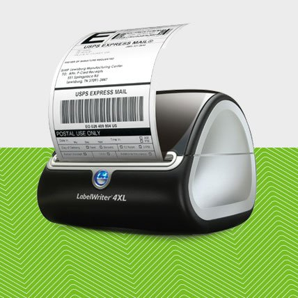 A Label Writer 4 X L printing a shipping label.