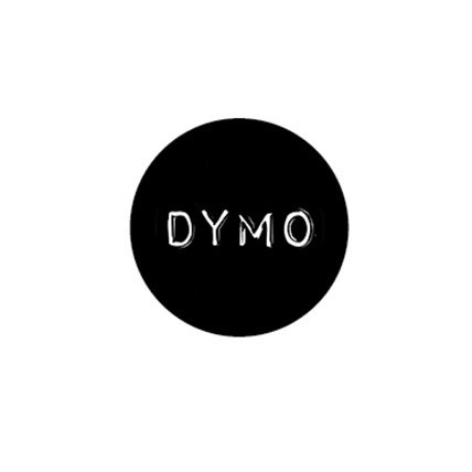 Embossed white DYMO in a black circle.