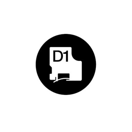 Rendering of D 1 label tape with D 1 typed over a black circle.