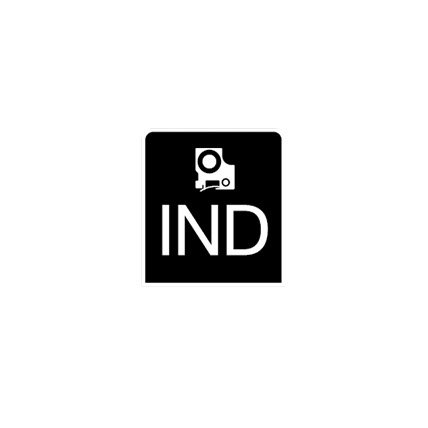 Rendering of industrial label tape and letters I N D in a black square.