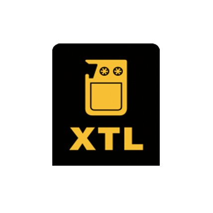 Yellow X T L tape icon over black background.