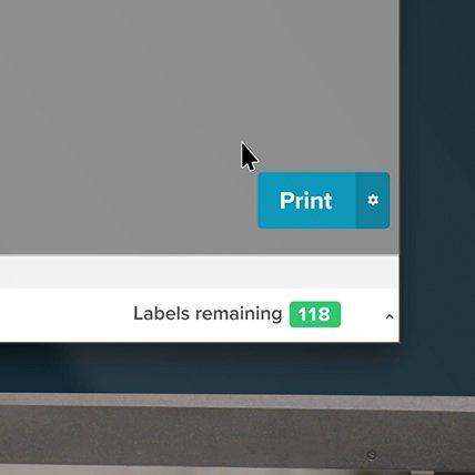 Closeup of a computer onscreen cursor hovered over a print button.