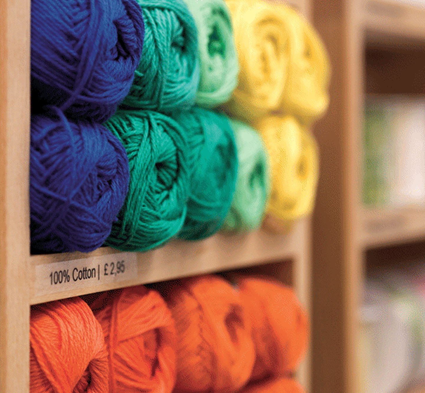 Price labels on shelves of yarn.