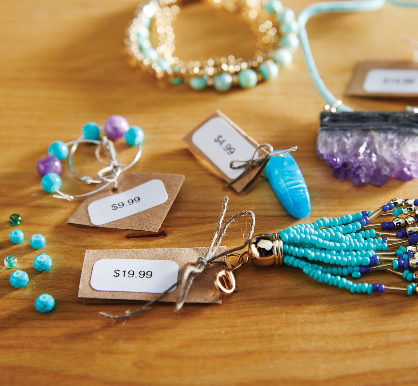 Price labels on jewelry.