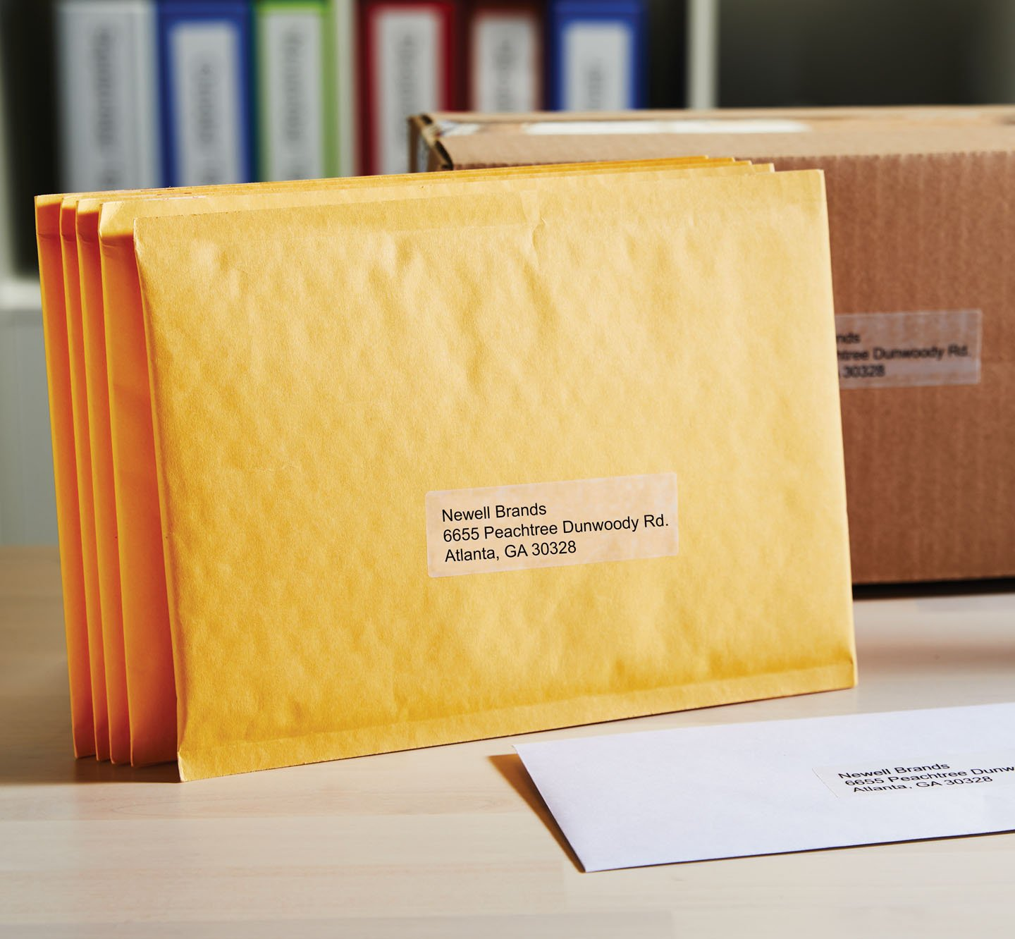 Packages with address labels.