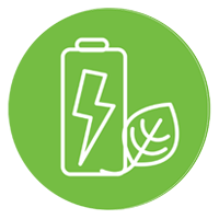 A rendering of a battery next to a leaf.