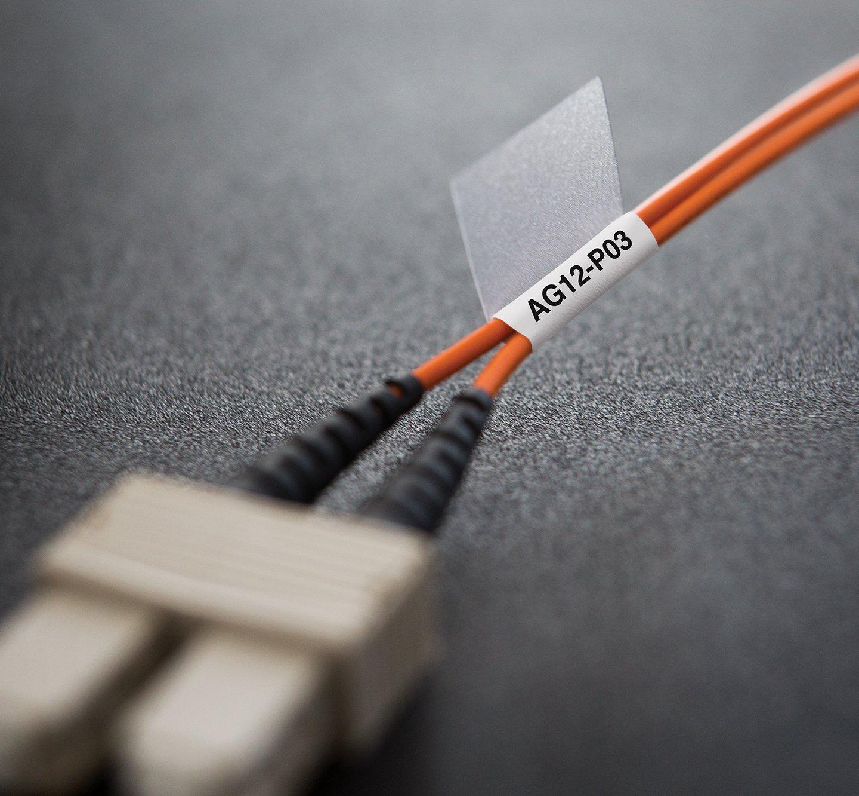 Closeup of a cable wrap label.