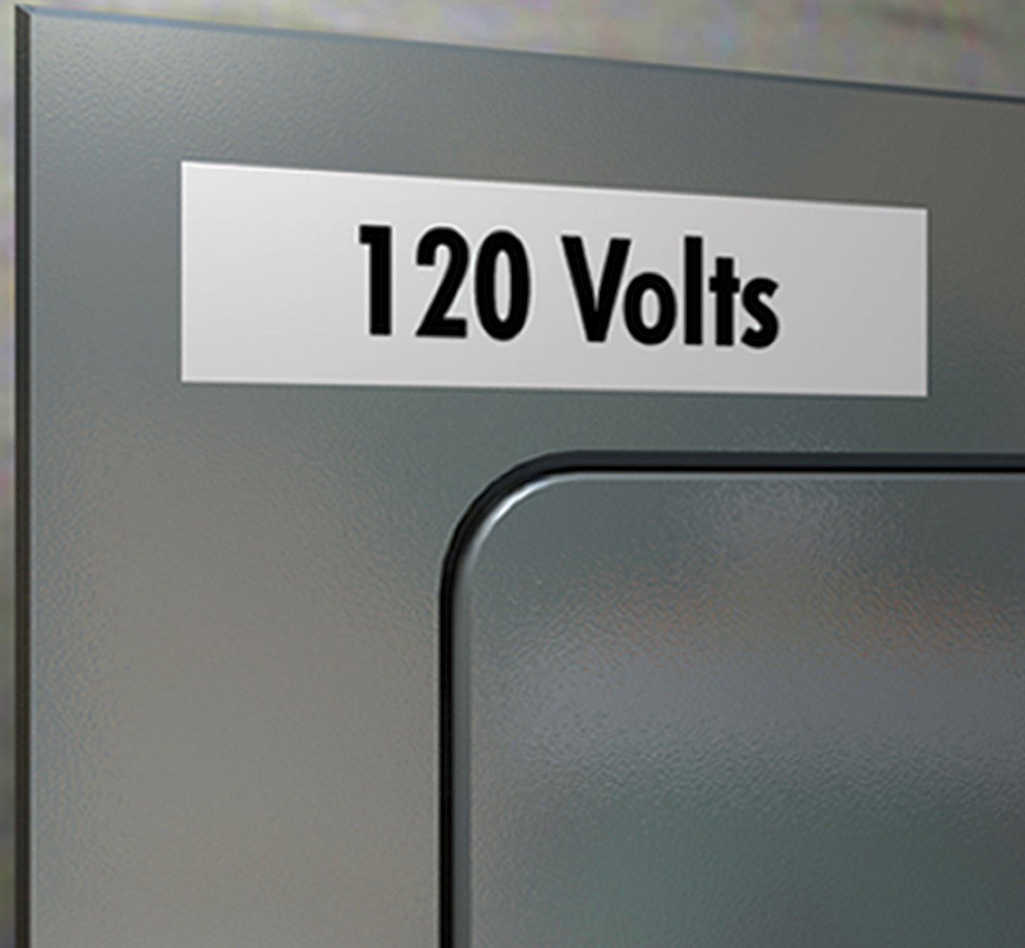Closeup of a label that reads 120 volts.