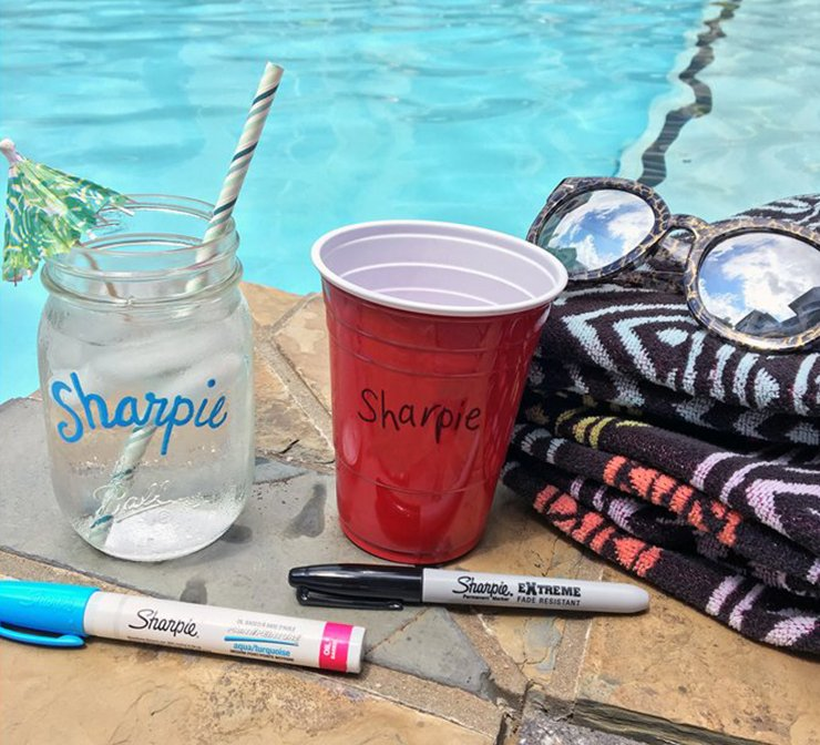 Labeling jars and cups with Sharpie markers