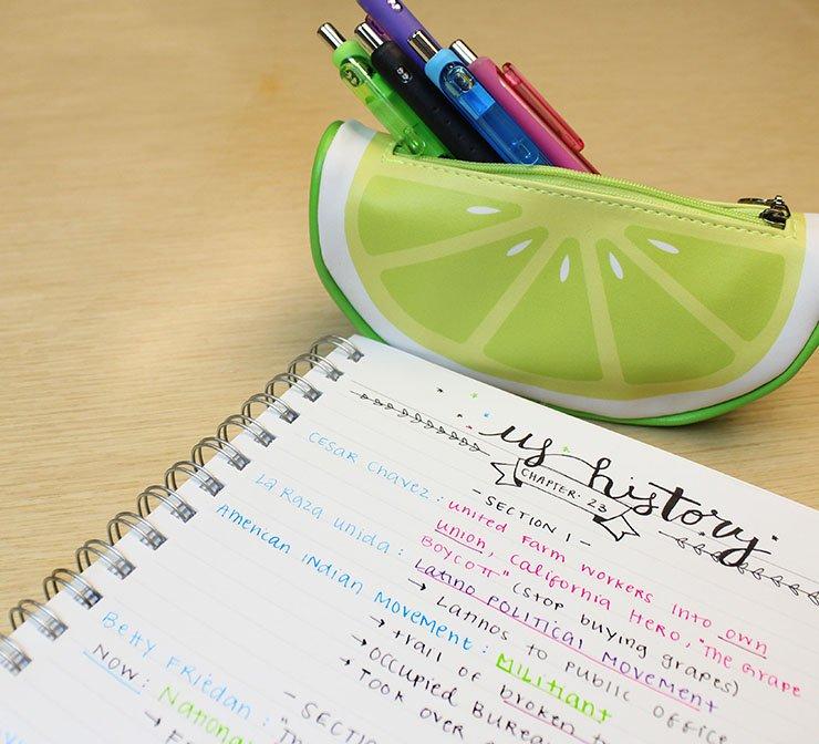 handwritten notes using writing utensils