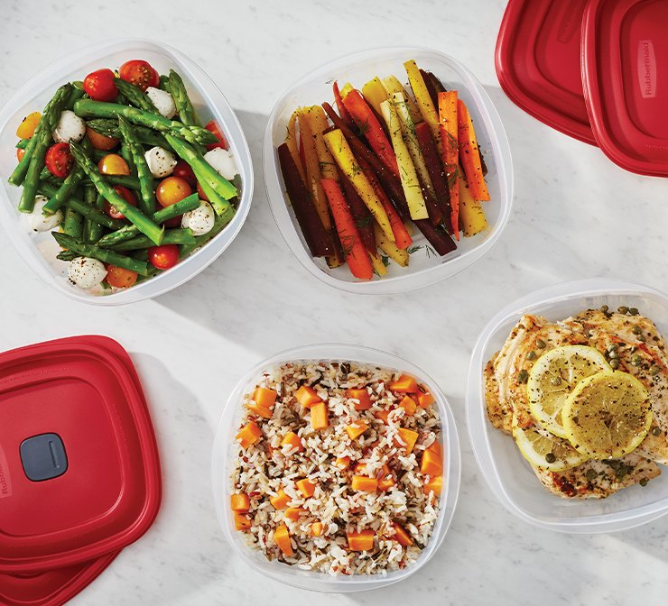 image of rubbermaid easy find vented lids food storage containers filled with leftovers