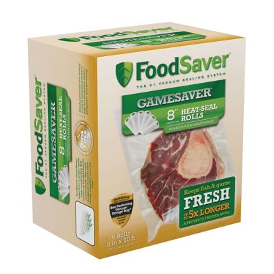 "FoodSaver® GameSaver®  8"" x 20' Long Vacuum-Seal Rolls, 6 Pack"