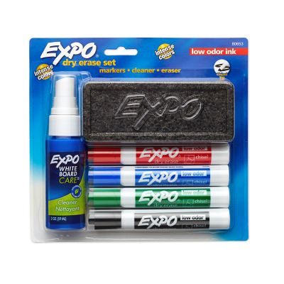 EXPO Dry Erase Marker Starter Set Chisel Tip, with Eraser and Cleaning Spray