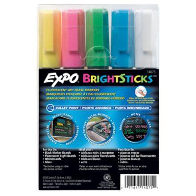 EXPO Bright Sticks Wet Erase Fluorescent Markers, Bullet Tip